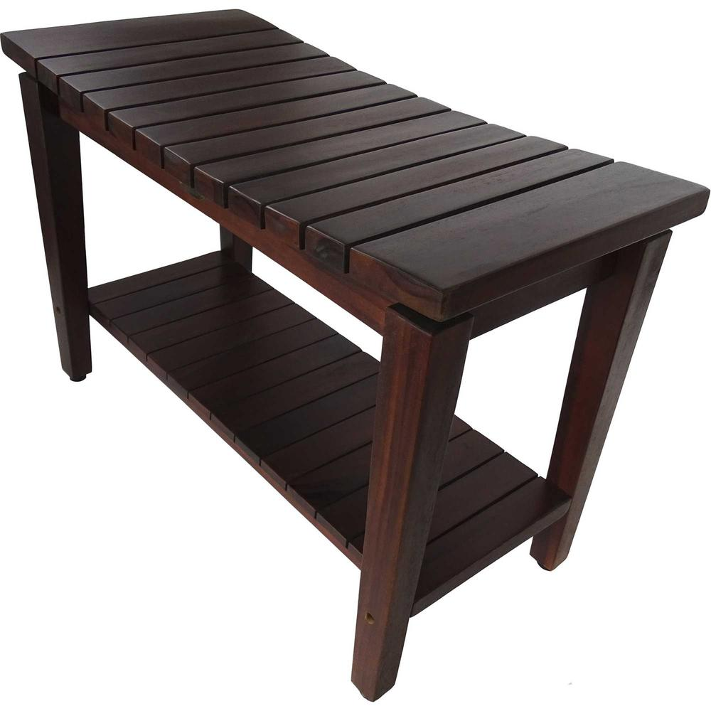 Contemporary Teak Shower Bench with Shelf in Brown Finish - 376680. Picture 3