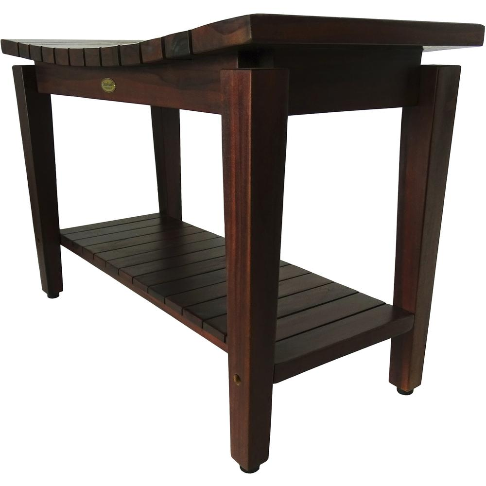 Contemporary Teak Shower Bench with Shelf in Brown Finish - 376680. Picture 4