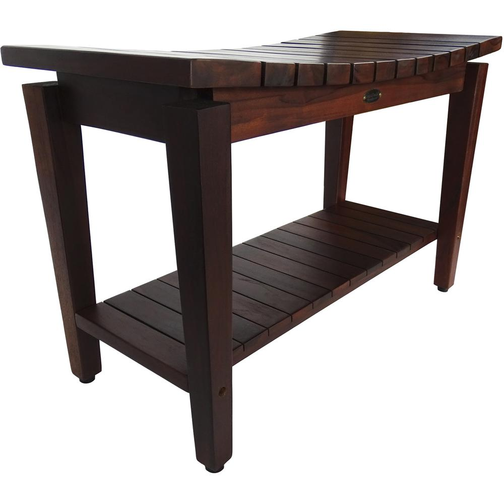Contemporary Teak Shower Bench with Shelf in Brown Finish - 376680. Picture 5