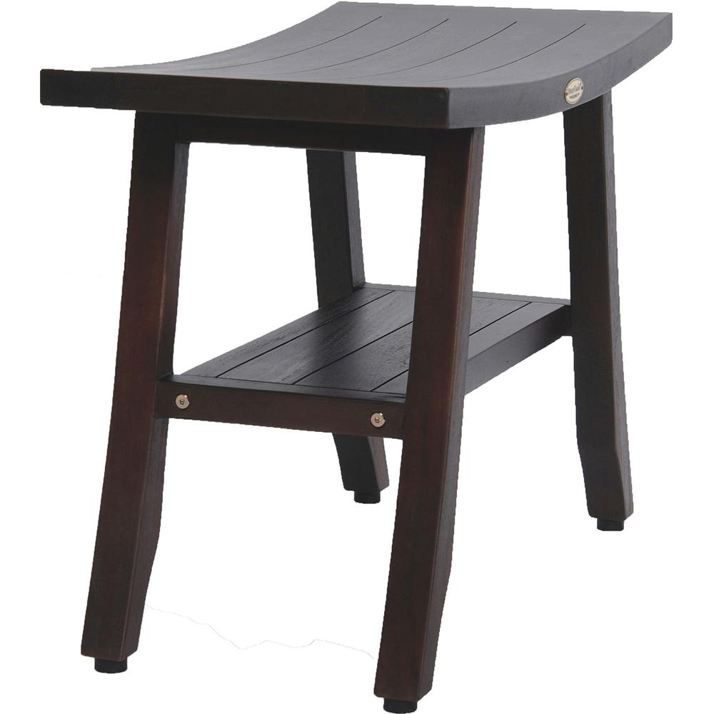 Contemporary Teak Shower Bench with Shelf in Brown Finish - 376686. Picture 2