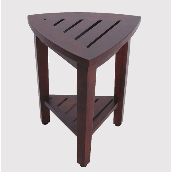 Compact Teak Corner Shower  Outdoor Bench with Shelf in Brown Finish - 376687. Picture 1