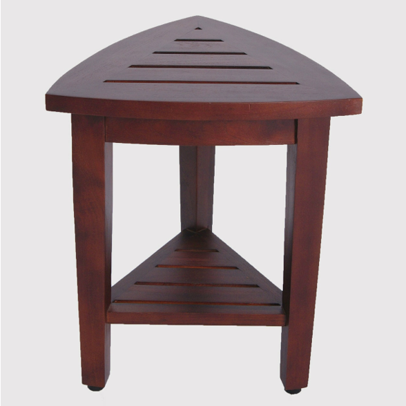 Compact Teak Corner Shower  Outdoor Bench with Shelf in Brown Finish - 376687. Picture 2