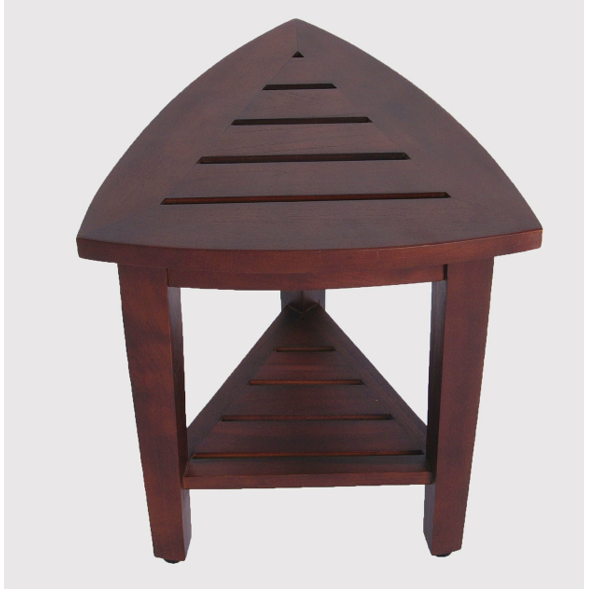 Compact Teak Corner Shower  Outdoor Bench with Shelf in Brown Finish - 376687. Picture 3