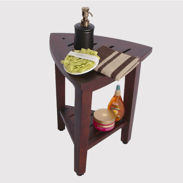 Compact Teak Corner Shower  Outdoor Bench with Shelf in Brown Finish - 376687. Picture 4