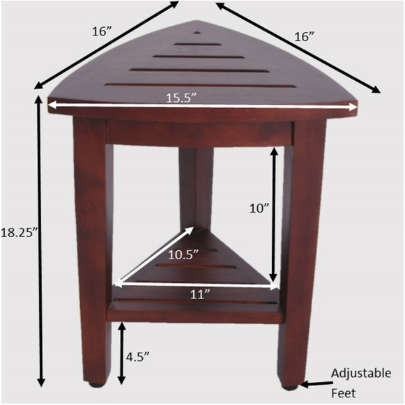 Compact Teak Corner Shower  Outdoor Bench with Shelf in Brown Finish - 376687. Picture 6