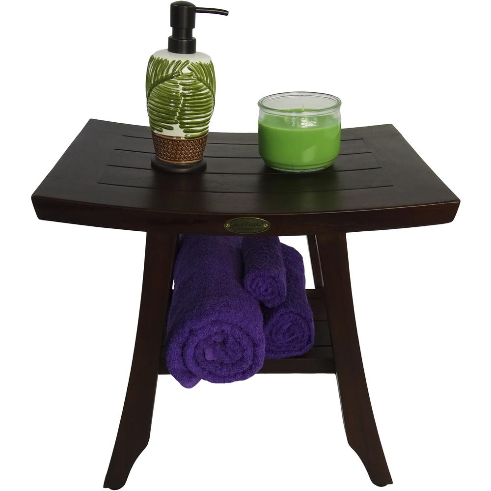 Compact Contemporary Teak Shower Stool in Brown Finish - 376689. Picture 6