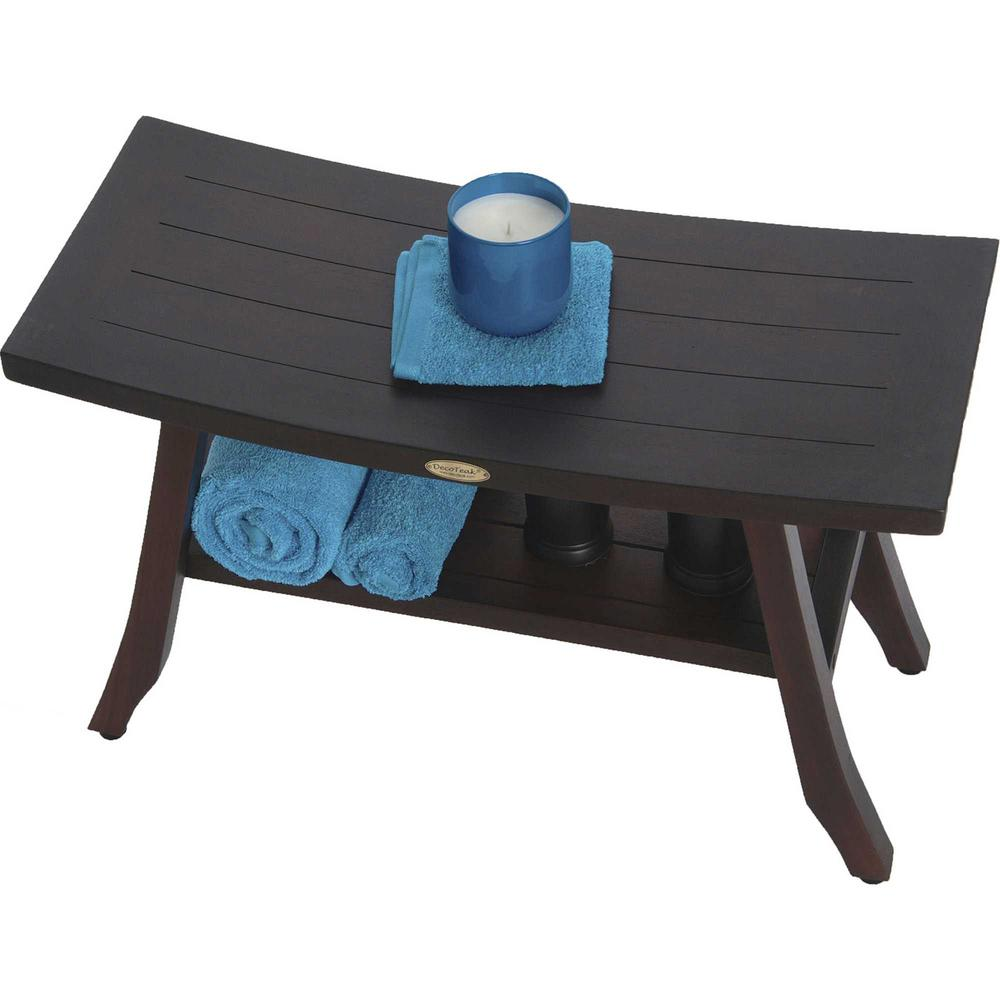 Contemporary Teak Shower Bench with Shelf in Brown Finish - 376690. Picture 3