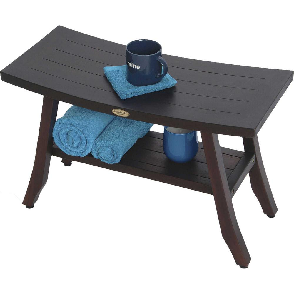 Contemporary Teak Shower Bench with Shelf in Brown Finish - 376690. Picture 4