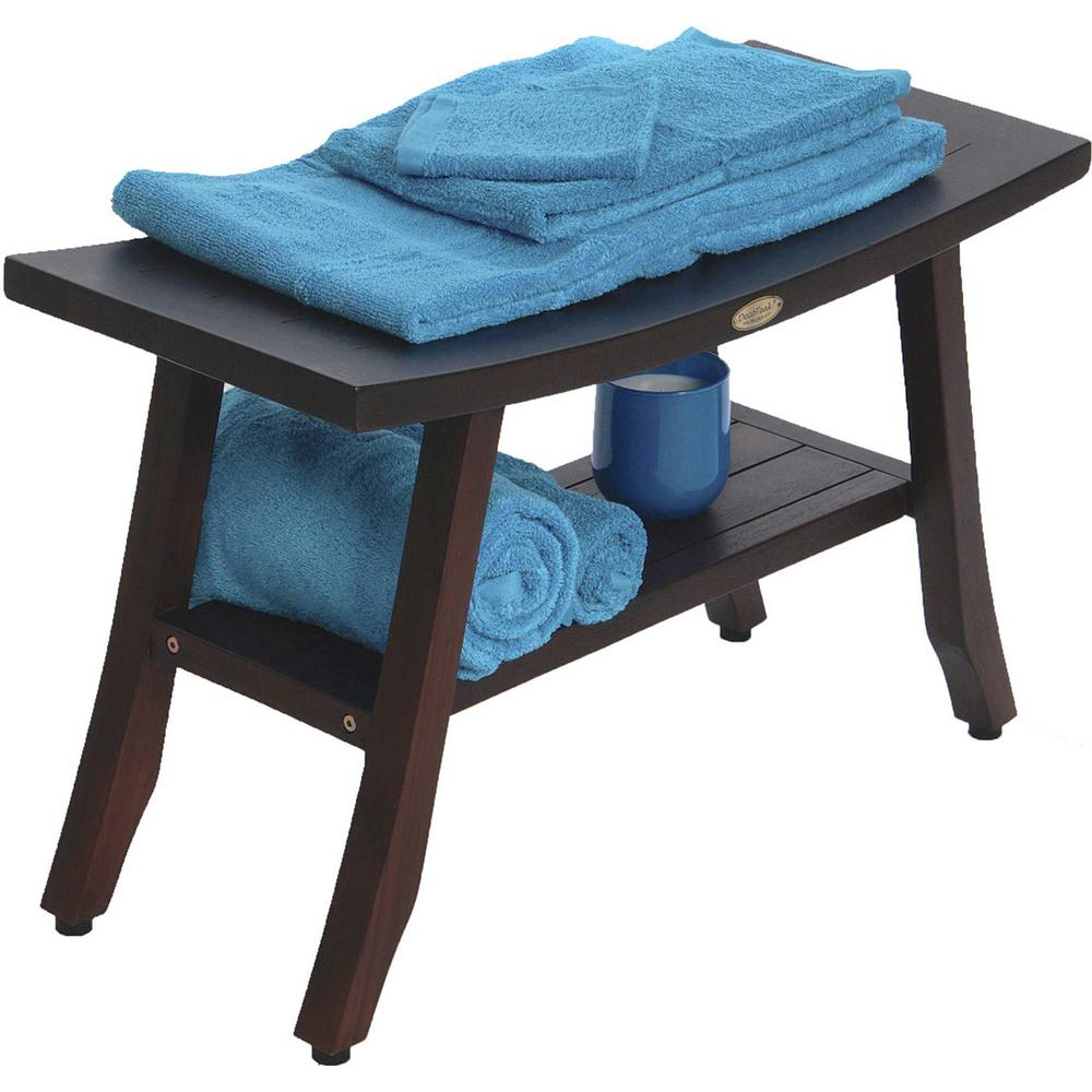 Contemporary Teak Shower Bench with Shelf in Brown Finish - 376690. Picture 5