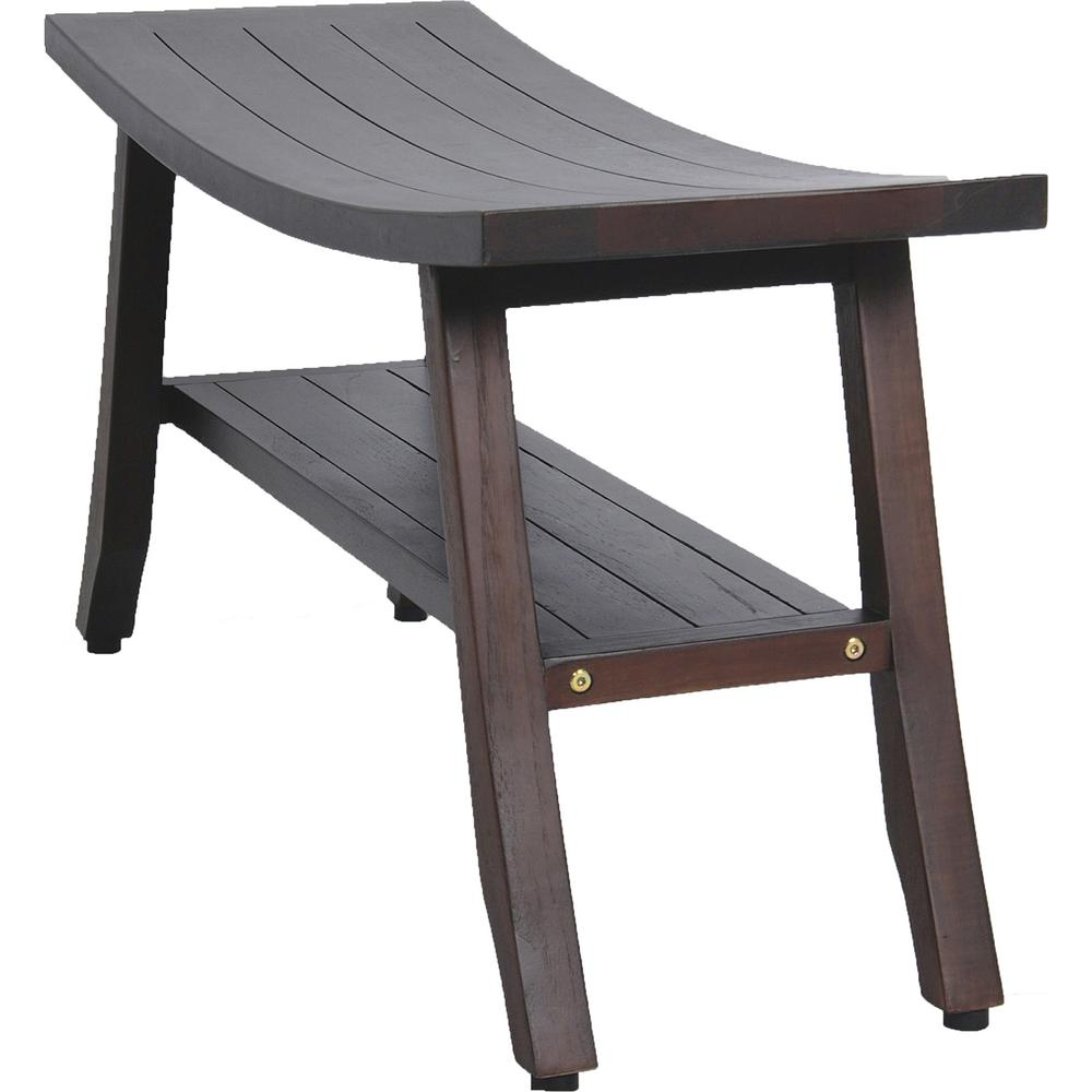 Contemporary Teak Shower Bench with Shelf in Brown Finish - 376691. Picture 2