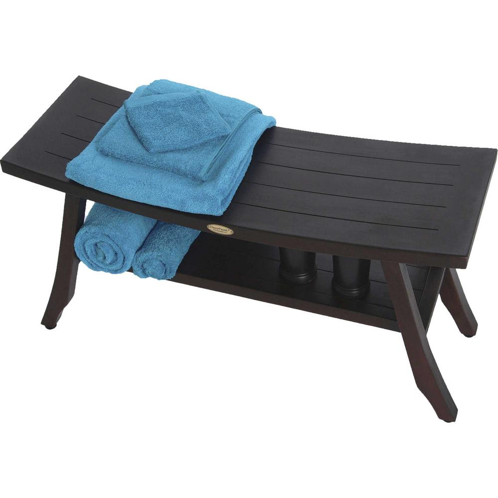 Contemporary Teak Shower Bench with Shelf in Brown Finish - 376691. Picture 4