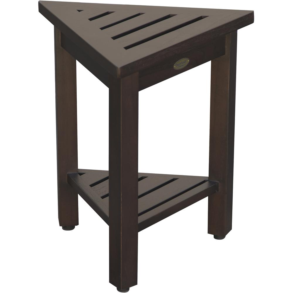 """18"""" Teak Corner Shower Stool or Bench with Shelf in Brown Finish - 376693. Picture 1"""