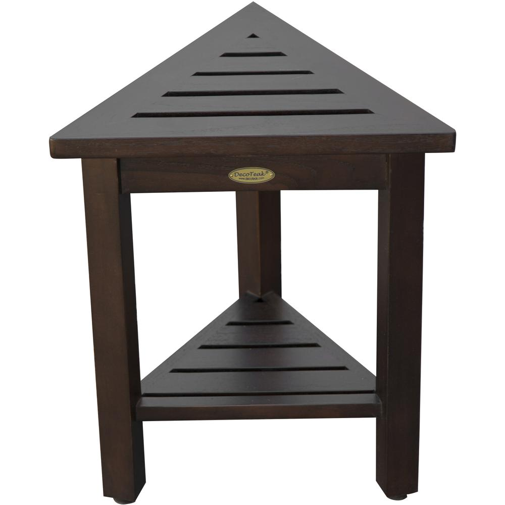 """18"""" Teak Corner Shower Stool or Bench with Shelf in Brown Finish - 376693. Picture 2"""