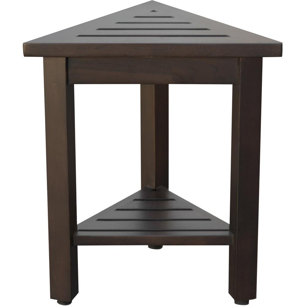 """18"""" Teak Corner Shower Stool or Bench with Shelf in Brown Finish - 376693. Picture 3"""