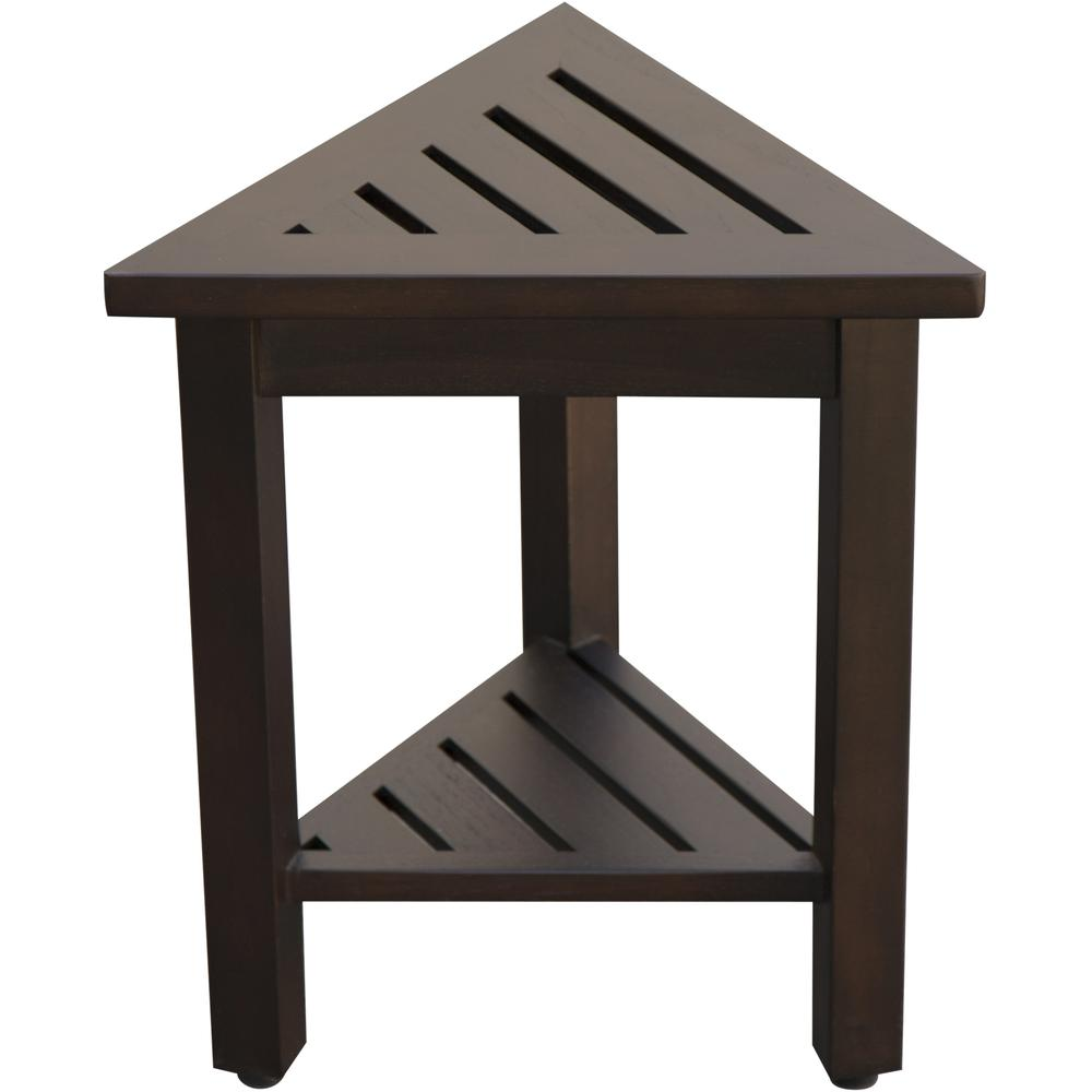 """18"""" Teak Corner Shower Stool or Bench with Shelf in Brown Finish - 376693. Picture 5"""