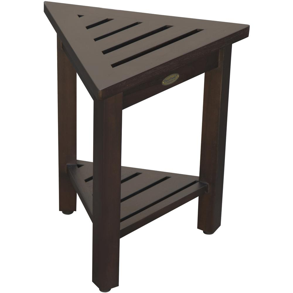"""18"""" Teak Corner Shower Stool or Bench with Shelf in Brown Finish - 376693. Picture 6"""