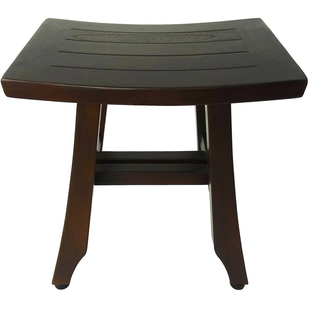 Compact Curvilinear Teak Shower or Outdoor Bench in Brown Finish - 376694. Picture 1