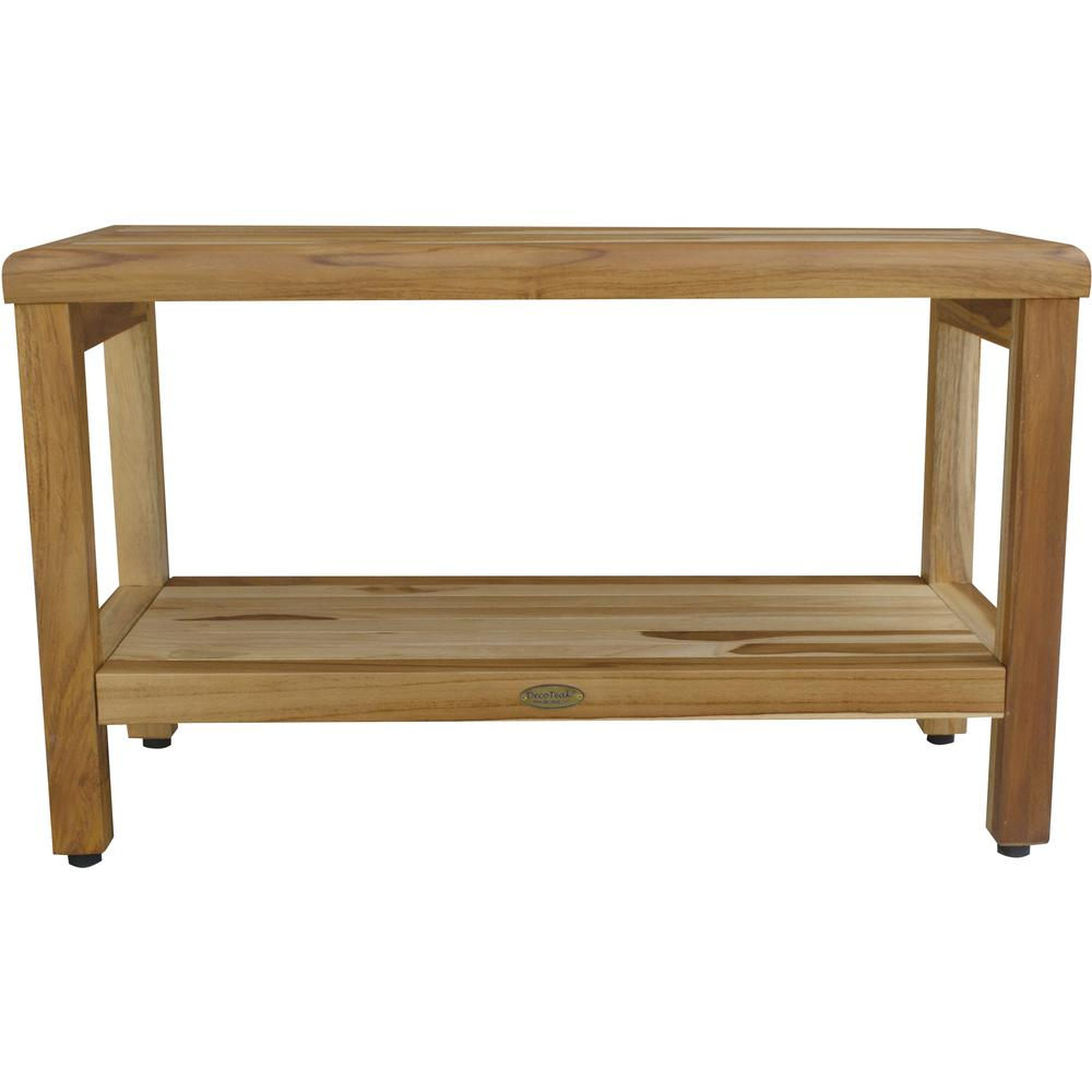 Rectangular Teak Shower Bench with Shelf in Natural Finish - 376698. Picture 1