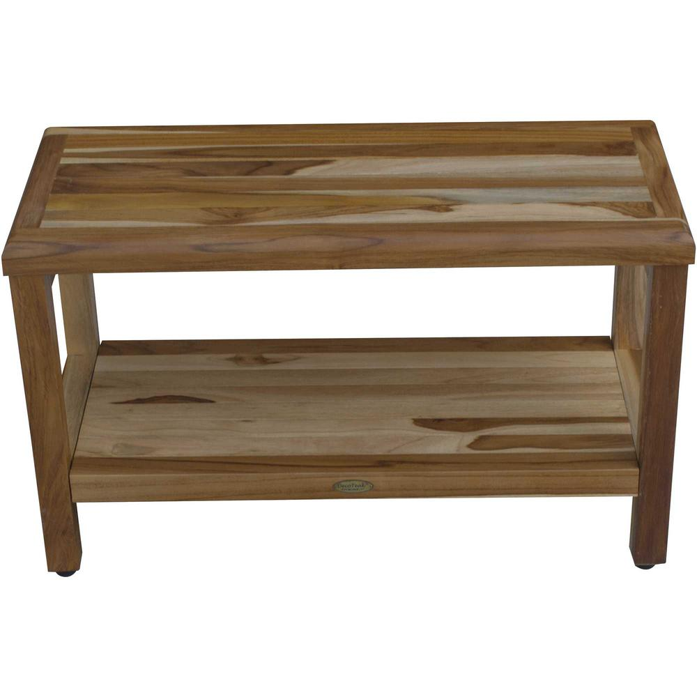 Rectangular Teak Shower Bench with Shelf in Natural Finish - 376698. Picture 3