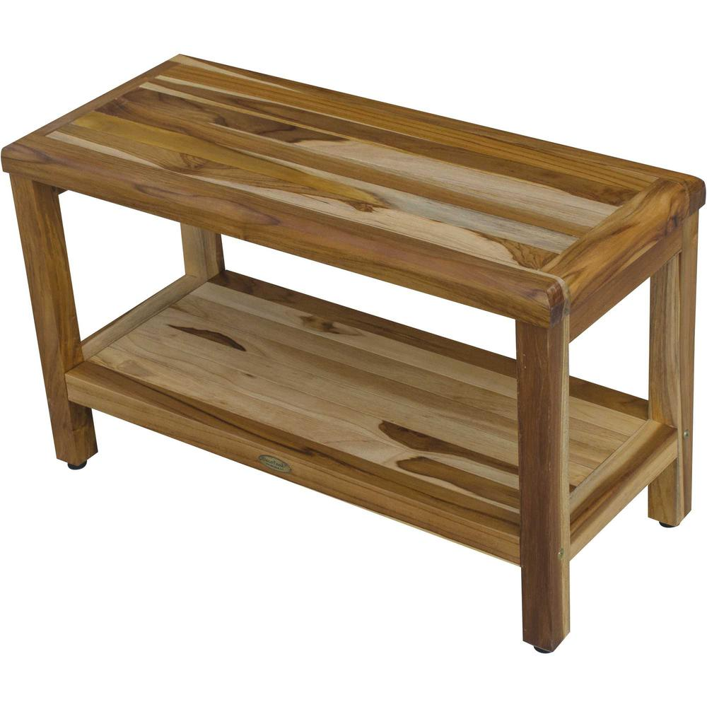 Rectangular Teak Shower Bench with Shelf in Natural Finish - 376698. Picture 4
