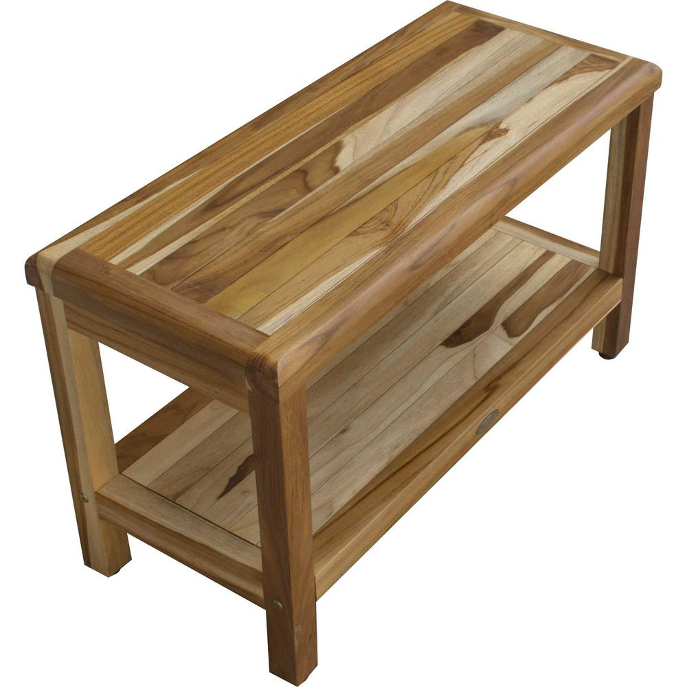 Rectangular Teak Shower Bench with Shelf in Natural Finish - 376698. Picture 5