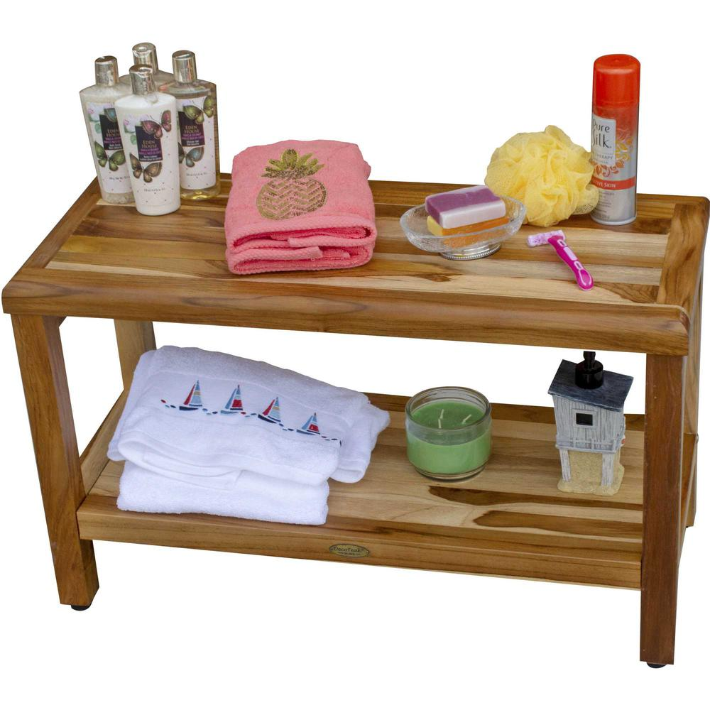 Rectangular Teak Shower Bench with Shelf in Natural Finish - 376698. Picture 6