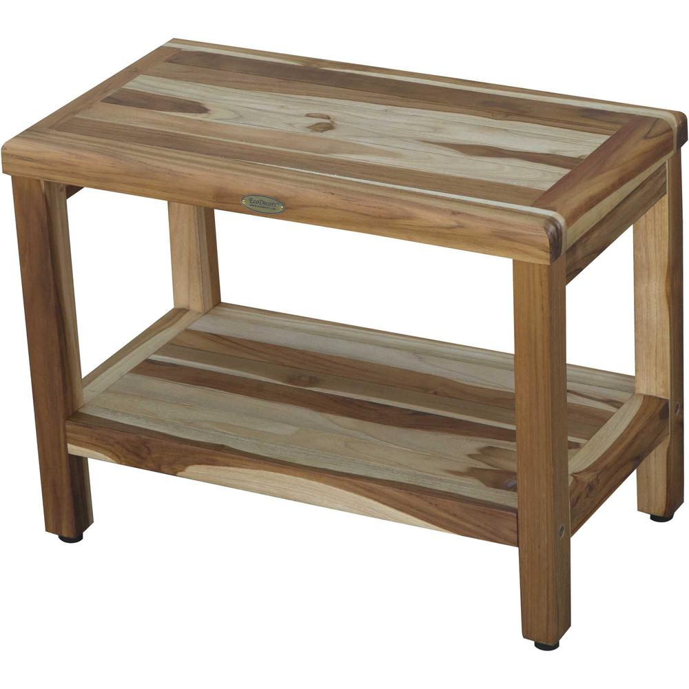 Rectangular Teak Shower Bench with Shelf in Natural Finish - 376699. Picture 1