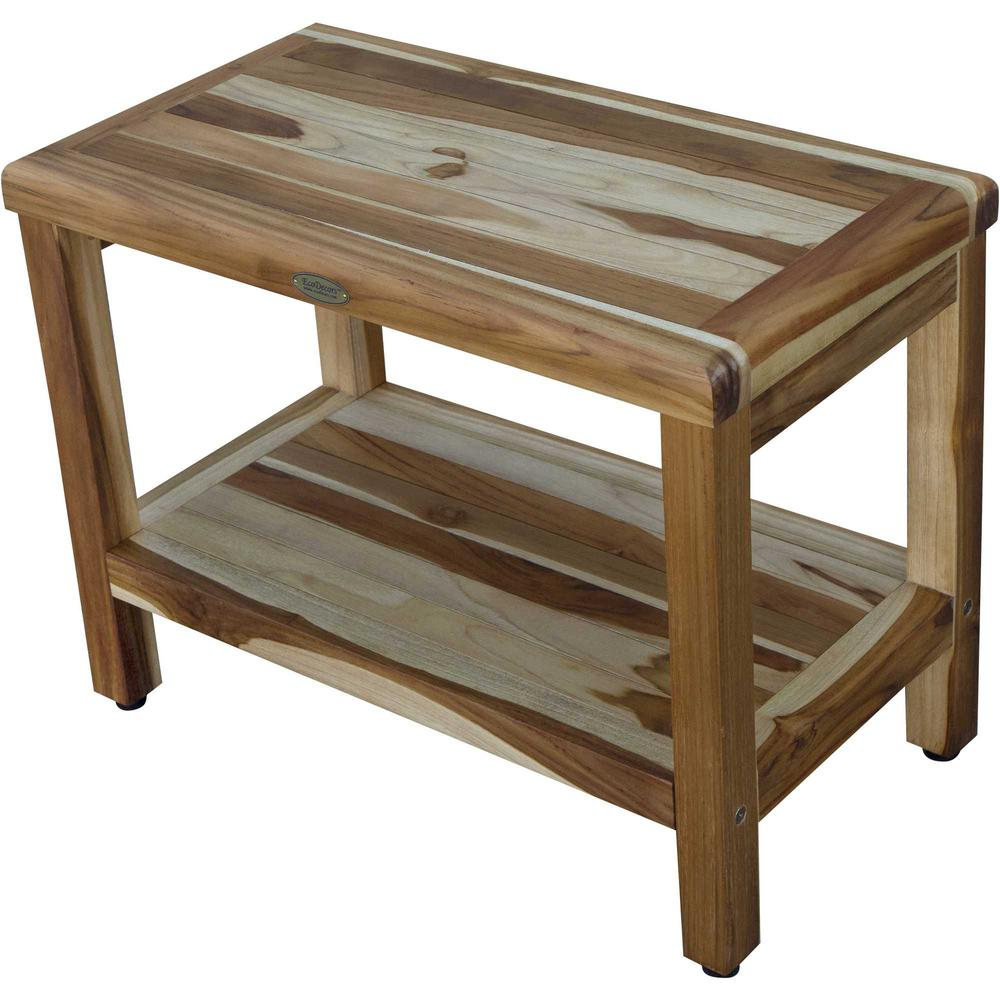 Rectangular Teak Shower Bench with Shelf in Natural Finish - 376699. Picture 2