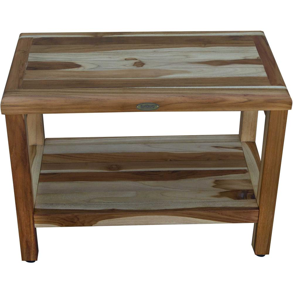 Rectangular Teak Shower Bench with Shelf in Natural Finish - 376699. Picture 3