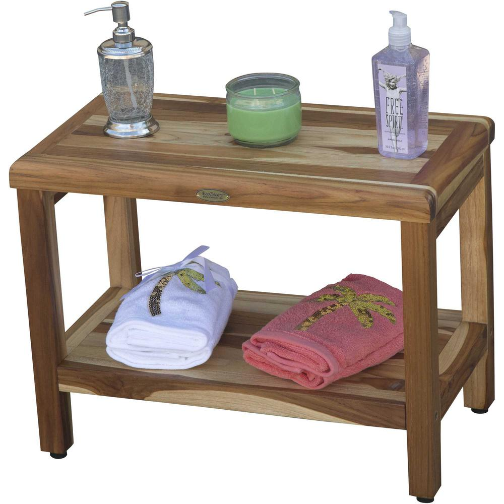 Rectangular Teak Shower Bench with Shelf in Natural Finish - 376699. Picture 4