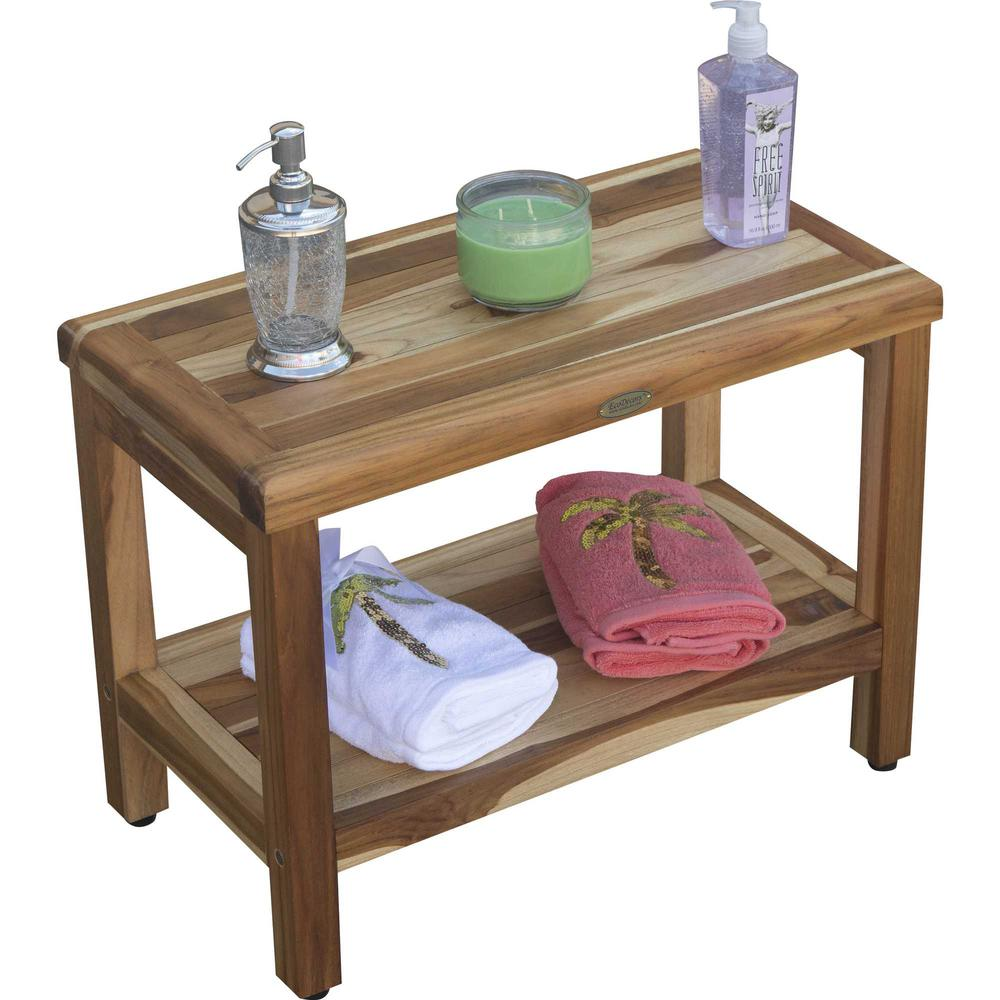 Rectangular Teak Shower Bench with Shelf in Natural Finish - 376699. Picture 5
