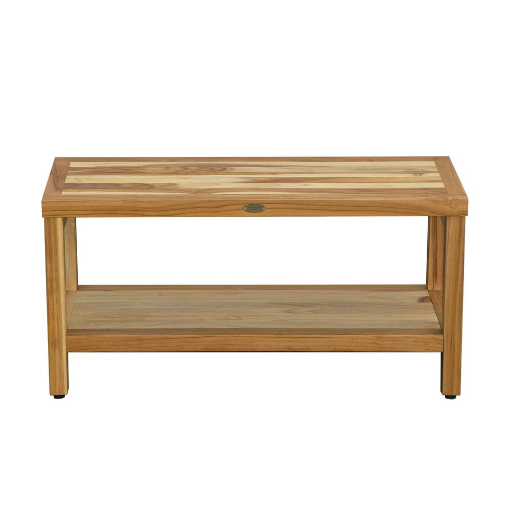 Large Rectangular Teak Bench with Shelf in Natural Finish - 376700. Picture 2