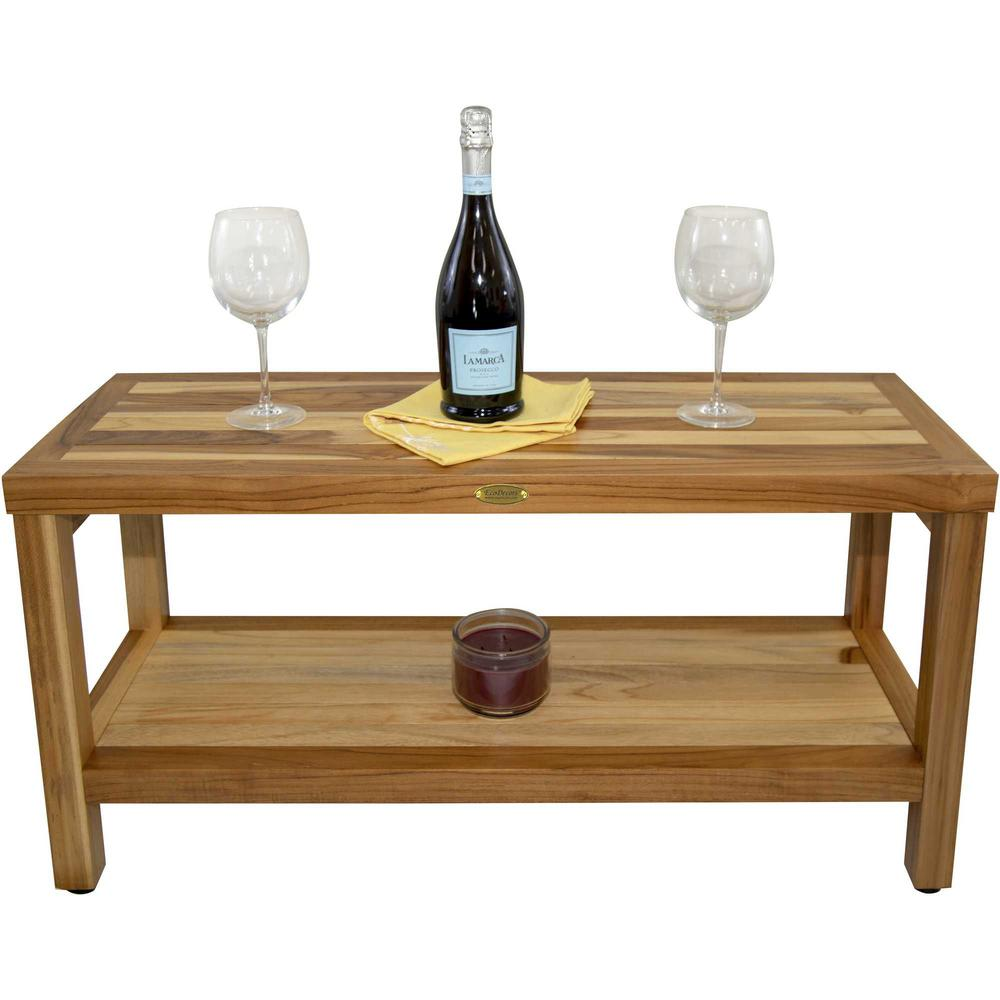 Large Rectangular Teak Bench with Shelf in Natural Finish - 376700. Picture 4