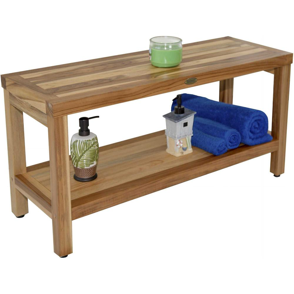 Large Rectangular Teak Bench with Shelf in Natural Finish - 376700. Picture 5