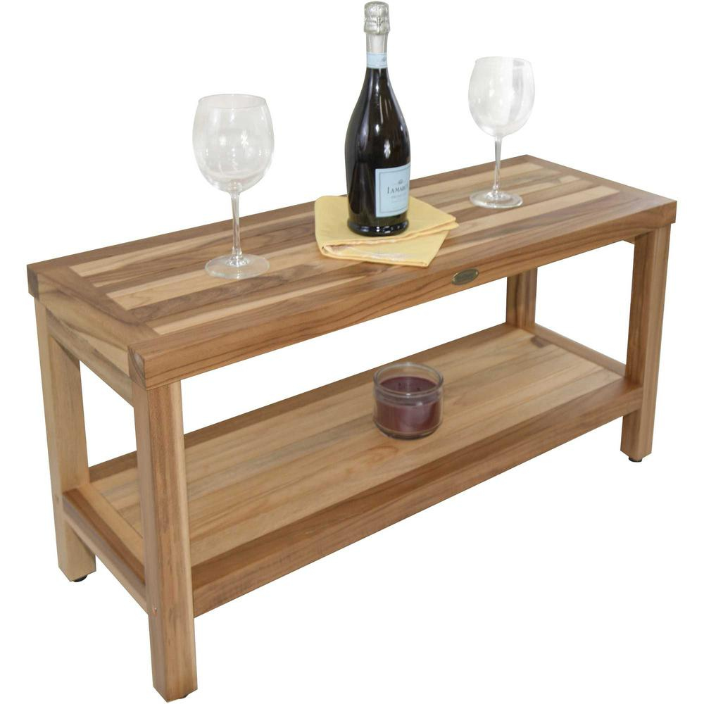Large Rectangular Teak Bench with Shelf in Natural Finish - 376700. Picture 6