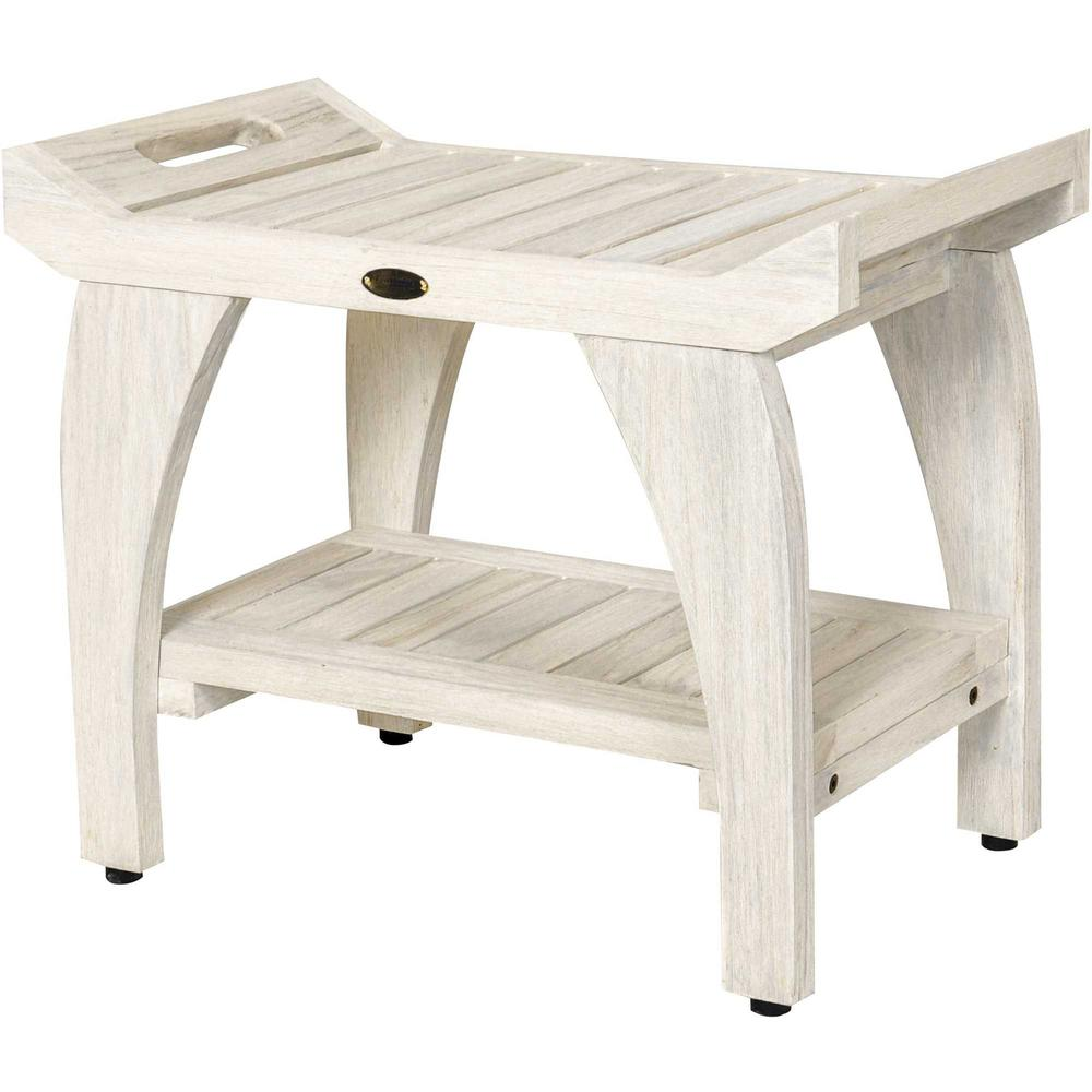 Compact Teak Shower Stool with Shelf and Handles in White Finish - 376704. Picture 1