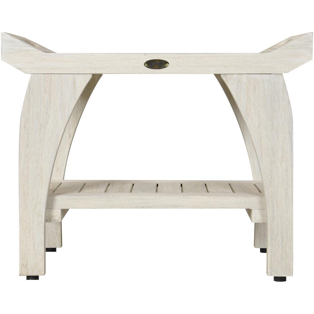 Compact Teak Shower Stool with Shelf and Handles in White Finish - 376704. Picture 2