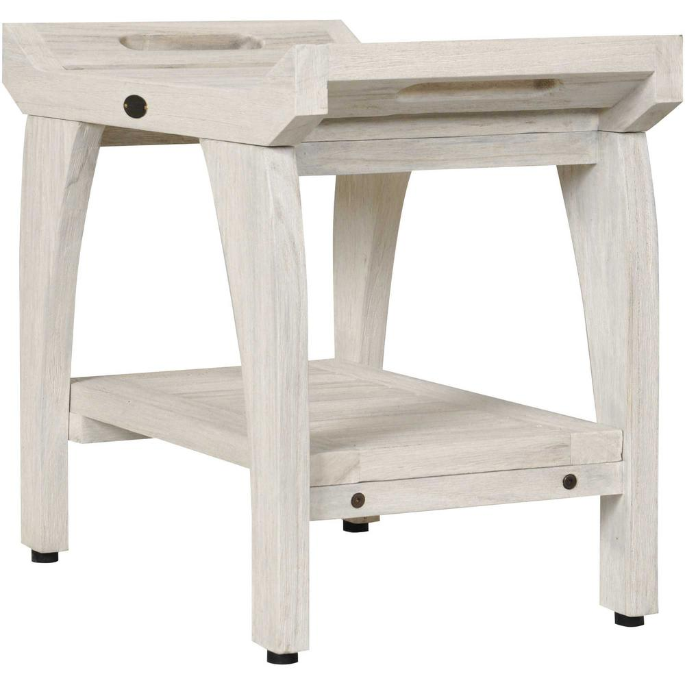 Compact Teak Shower Stool with Shelf and Handles in White Finish - 376704. Picture 3
