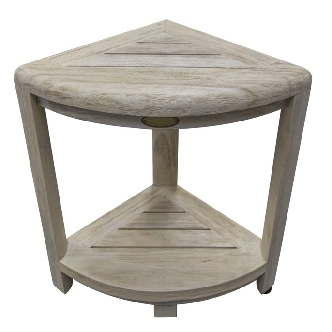 Compact Teak Corner Shower Stool with Shelf in Whitewash Driftwood - 376705. Picture 1