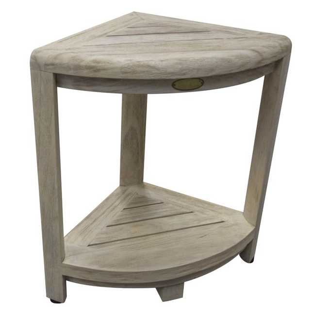 Compact Teak Corner Shower Stool with Shelf in Whitewash Driftwood - 376705. Picture 2