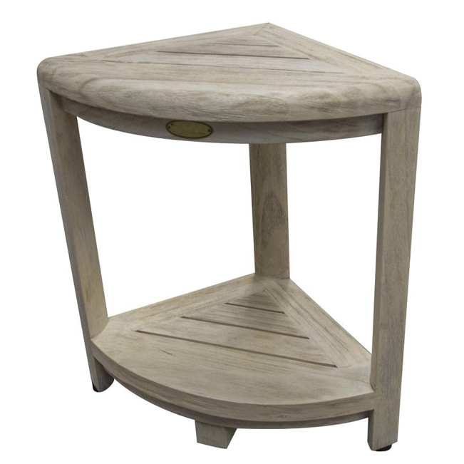 Compact Teak Corner Shower Stool with Shelf in Whitewash Driftwood - 376705. Picture 3
