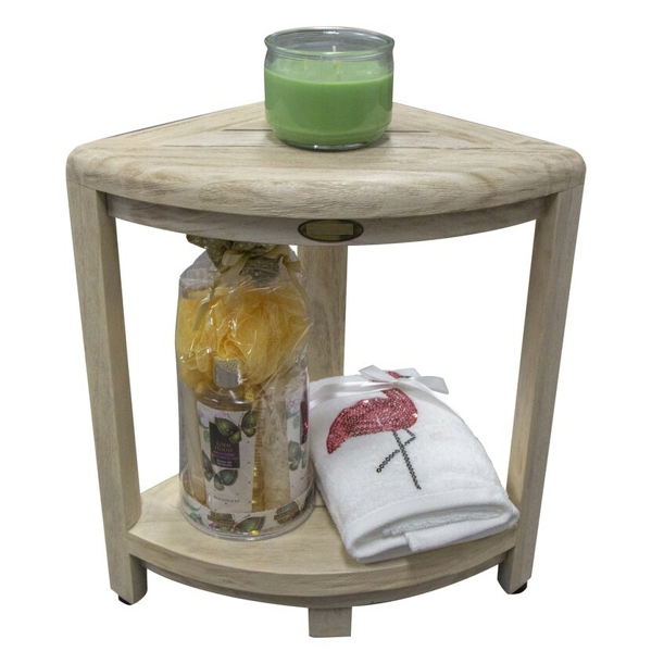Compact Teak Corner Shower Stool with Shelf in Whitewash Driftwood - 376705. Picture 4