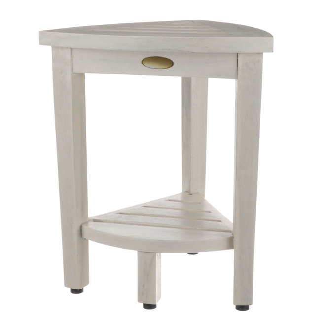 Compact Teak Corner Shower Stool with Shelf in Whitewash Finish - 376706. Picture 1