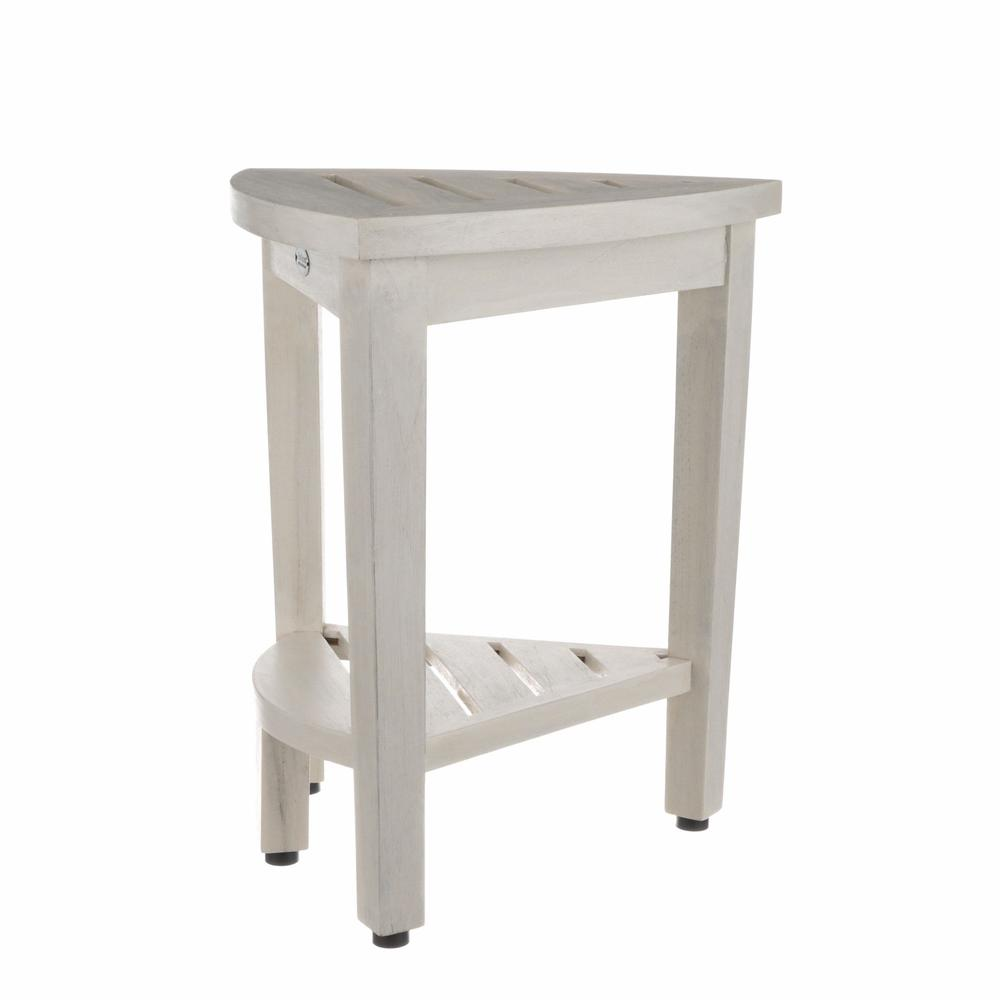 Compact Teak Corner Shower Stool with Shelf in Whitewash Finish - 376706. Picture 2