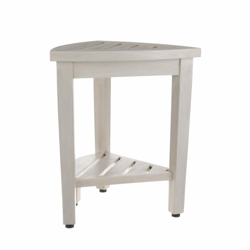 Compact Teak Corner Shower Stool with Shelf in Whitewash Finish - 376706. Picture 3