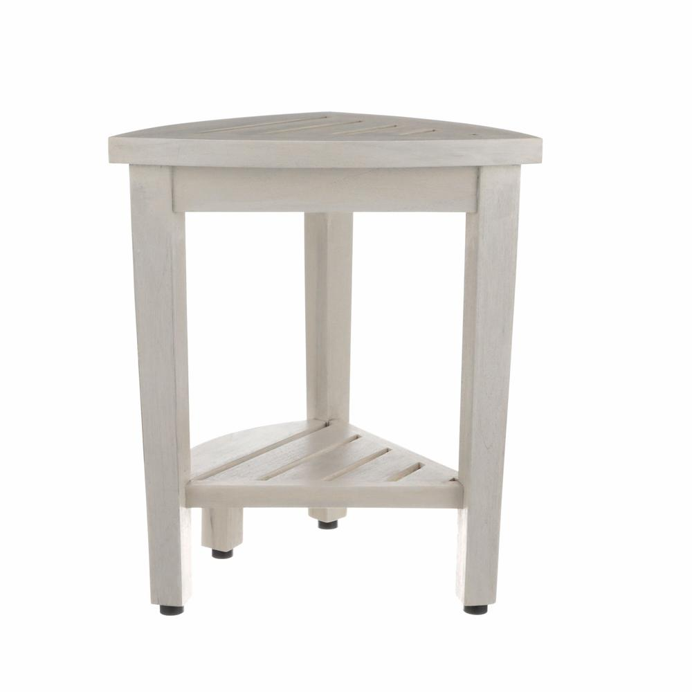 Compact Teak Corner Shower Stool with Shelf in Whitewash Finish - 376706. Picture 4