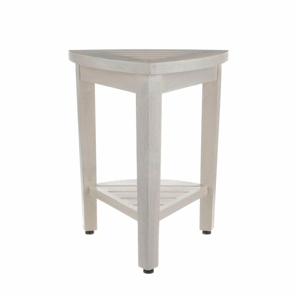 Compact Teak Corner Shower Stool with Shelf in Whitewash Finish - 376706. Picture 5