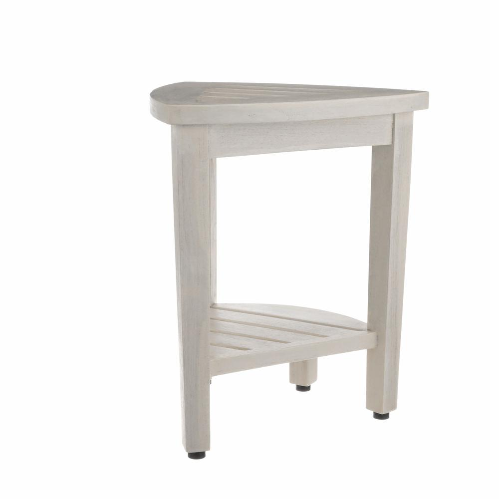 Compact Teak Corner Shower Stool with Shelf in Whitewash Finish - 376706. Picture 6