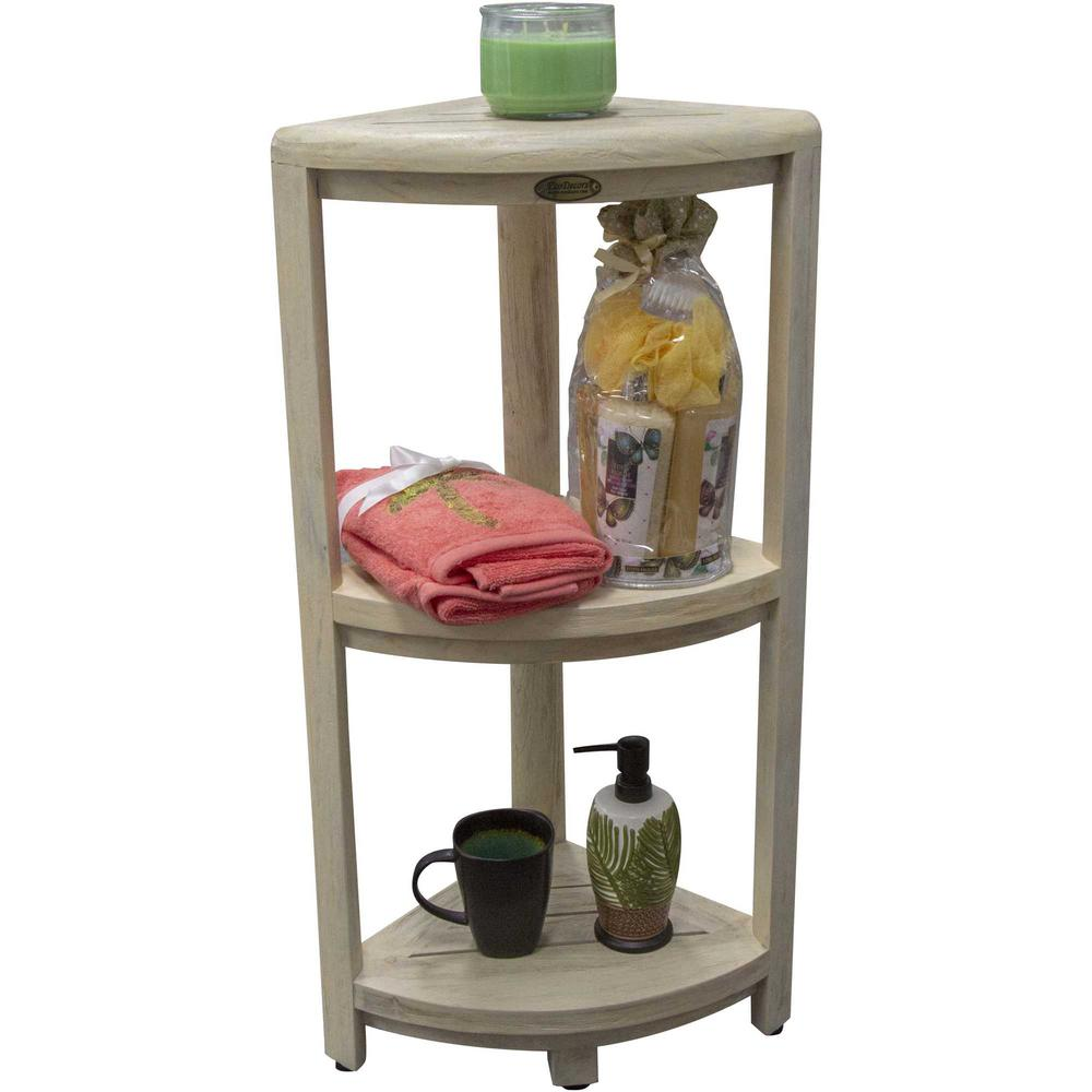 Teak Three Tier Corner Shower Shelf in White Finish - 376707. Picture 3