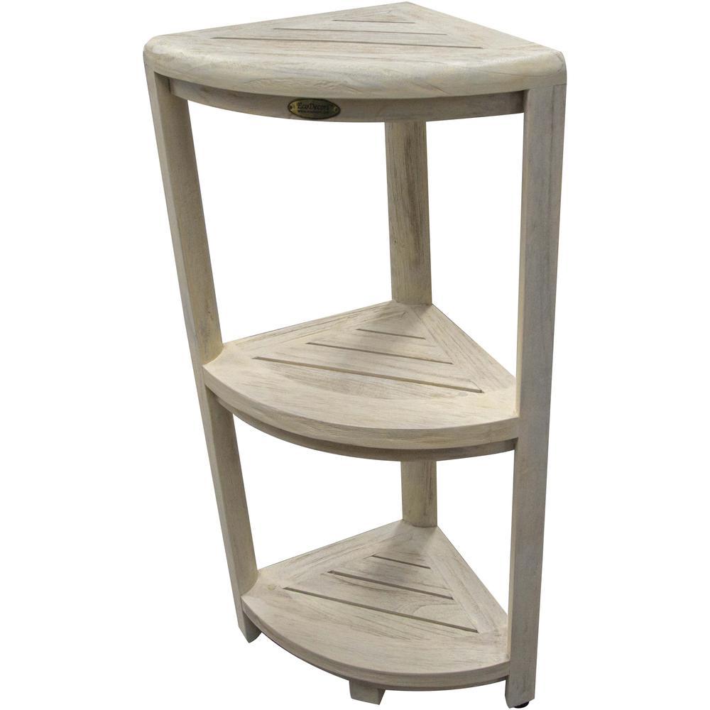 Teak Three Tier Corner Shower Shelf in White Finish - 376707. Picture 5